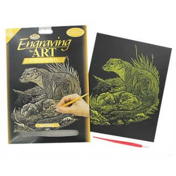 ENGRAVING ART SET - OTTERS (GOLD FOIL) by ROYAL & LANGNICKEL